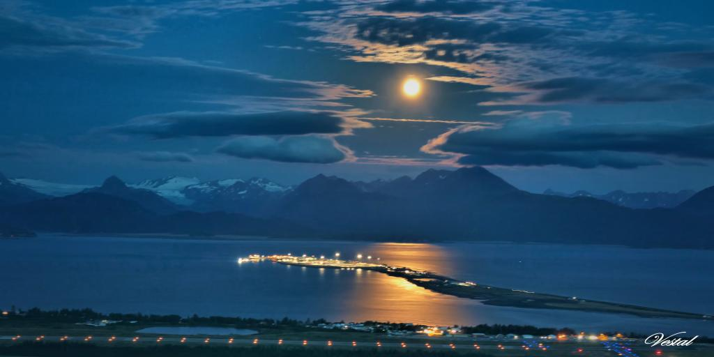 Full Moon over Homer, Alaska (2x1)
