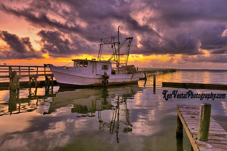 Capt. Cheng Shrimp Boat at Dawn -- 2x3 ratio